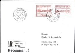 1984, Lettre Recommandé Esch/Alzette, 2 Timbres De Distributeurs 30.00 P2503  2Scans - Luxembourg