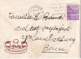 SUISSE 1938 LETTRE PRO JUVENTUTE DE LAUSANNE - Pro Juventute