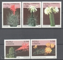Peru / Perou 1989 Yvert 908-12, Flora, Flowers & Cactus - MNH - Perú