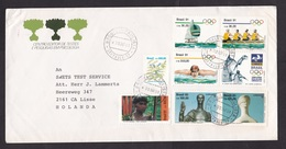 Brazil: Cover To Netherlands, 1991, 8 Stamps, Olympics, Water Sports, Statue, Art, Native, Rare Real Use (minor Creases) - Brieven En Documenten