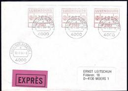 1984, Lettre EXPRES Esch/Alzette, 3 Timbres De Distributeurs 07.00, 30.00, 04.00, P2503  2Scans - Luxembourg