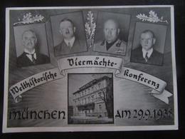 Postkarte Konferenz München Hitler Mussolini Ribbentrop Ciano - Braunes Haus - Erhaltung I-II - R! - Deutschland