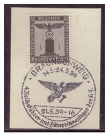 Dt-Reich (007182) Propagandasonderstempel Auf Briefstück, Braunschweig, 4.Reichsführer Und Führerinnenlager Der HJ, Gest - Deutschland