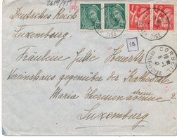 Lettre Iris,Mercure Corbeil Seine Et Oise Pour Luxembourg Censure - Postmark Collection (Covers)