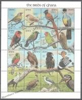 Ghana 1991 Yvert 1350-65, Fauna, Birds (III) - Sheetlet - MNH - Ghana (1957-...)