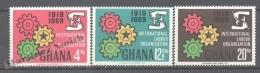 Ghana 1969 Yvert 363-65, 50th Ann. International Labour Organization - MNH - Ghana (1957-...)