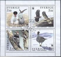 Schweden MiNr. 1847-50 (aus MH 197) - WWF Vögel - Gestempelt - W.W.F.