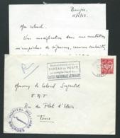 """LAC EN 1963 Cachet Militaire Violet """"  Hopital Militaire Bourges / Le Vaguermestre? + Yvert Fm N°12    - Lx0707 - Marcophilie (Lettres)"""