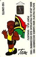 VANUATU  150 UNITS TMAN & FLAG  SOUTH PACIFIC GAMES SPORT 12-1993 CHIP  2000 ONLY !! VAN1-13 READ DESCRIPTION !! - Vanuatu