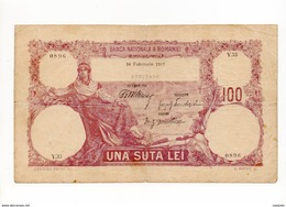 ROUMANIE : 100 LEI 1917 17 FEVRIER... IMPRESSION RUSSE !! RARE - Romania