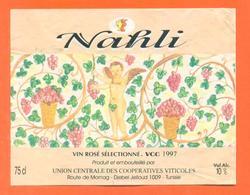 étiquette De Vin Rosé De Tunisie Nahli 1997 Caves à Djebel Jelloud - 75 Cl - Vin De Pays D'Oc