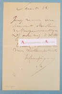 Henri HARPIGNIES Peintre école De Barbizon - Né à Valenciennes - Billet Lettre Autographe L.A.S - Décédé à Saint Privé - Autographes