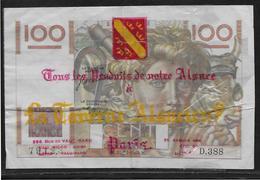 France 100 Francs Jeune Paysan - 16-11-1950 - Publicité La Taverne Alsacienne Paris - Fayette N°28-28 - B/TB - Rare - 1871-1952 Circulated During XXth
