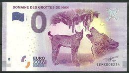 Billet Touristique 0 Euro  2017 Grottes De HAN Belgique  Loup, Lynx - EURO