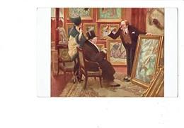 Cpa - A. GUILLAUME - Le Boniment - Marchand De Tableaux - Femme Nue Statue - Femme élégante Mode Chapeau Homme âgé - Paintings