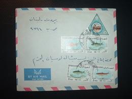 LETTRE TP POISSON 3 X2 + TP POISSON 2 X2 + TP 15 OBL.7 SEP 69 - Iraq
