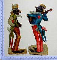 2 CHROMOS DECOUPIS .....H 17 Cm.......MUSICIENS NOIRS .. - Autres