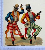 CHROMO DECOUPI .....15 /13  Cm.......MUSICIEN  NOIRS .....BANJO - Découpis