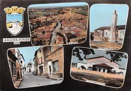 Aigues-Vives - Temple Et Horloge - Eglise - Cave Coopérative Vinicole - Blason - Aigues-Vives