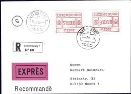 1984 Lettre Recommandé,EXPRES, Luxembourg Vers Moers, 2Timbres De Distributeurs 30.00, 60.00 P2502 - Luxembourg