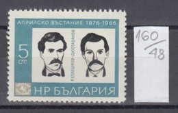 48K160 / 1675 Bulgaria 1966 Michel Nr. 1615 - Vasil Petleshkov, Tsanko Dyustabanov 90th Anniv Of April Uprising 1876 - Militaria
