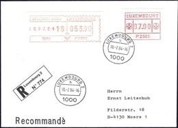 1984 Lettre Recommandé Luxembourg Vers Moers, 2 Timbres De Distributeurs 053.00, 07.00 P270, P2501 - Luxembourg