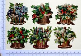 6 CHROMOS DECOUPIS  ....H  5  Cm......FLEURS DANS UN PANIER - Fleurs