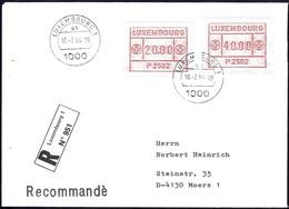 1984 Lettre Recommandé Luxembourg Vers Moers, 2 Timbres De Distributeurs  2Scans - Luxembourg