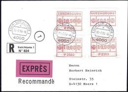 1984 Lettre Recommandé EXPRES Luxembourg Vers Moers, 4 Timbres De Distributeurs  2Scans - Luxembourg