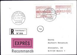 1984 Lettre Recommandé EXPRES Luxembourg Vers Moers, 2 Timbres De Distributeurs  2Scans - Luxembourg