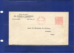 ##(ROYBOX1)- Banks-Banques-Banken-U.S.A.1929-Bank Of  America Meter-Ema Cover From New York To Livorno-Italy - Timbres