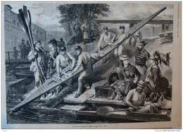 Le Sport Nautique - Mise à L'eau D'une Yole -  Page Original 1873 - Documents Historiques