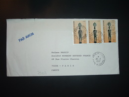 LETTRE Pour La FRANCE TP STATUETTE SENOUFO 25F Bande De 3 OBL.22-2 1977 ABIDJAN TRI - Côte D'Ivoire (1960-...)
