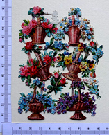 6 CHROMOS DECOUPIS ....PLANCHE NUMÉROTÉE....PANIERS  DE FLEURS - Flowers