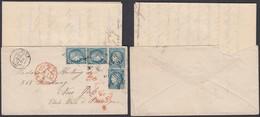 France 1872 Yv 60 X4 Sur Lettre De Paris  Vers New York (4G31246) DC-1116 - 1871-1875 Cérès