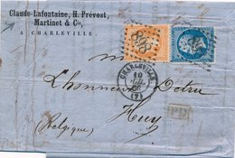 Lettre N°22,23 Charleville Ardennes Pour Huy Belgique, Claude Lafontaine - Postmark Collection (Covers)