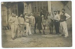 CARTE PHOTO GROUPE D'OUVRIERS POSANT AVEC UN CHEVAL - Horses