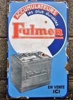 Rare Plaque émaillée Des Batterie Fulmen émaillerie Alsacienne 49 X31 Cm - Advertising (Porcelain) Signs