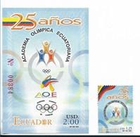 ECUADOR 2005, ECUADORIAN OLYMPIC ACADEMY, EMBLEM, SOUVENIR SHEET + SINGLE STAMP MICHEL 2818, BL180 YVERT 1820, BF128 - Ecuador