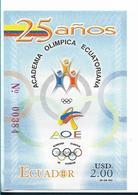 ECUADOR 2005, ECUADORIAN OLYMPIC ACADEMY, EMBLEM, SOUVENIR SHEET MICHEL BL180 YVERT  BF128 - Ecuador