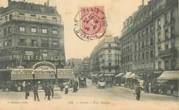 """CPA FRANCE 75006 """"Paris, Rue Monge"""" / TIMBRE PIQUAGE A CHEVAL - Arrondissement: 06"""