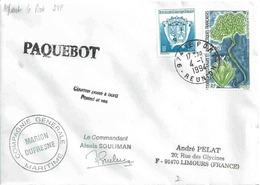 YT 171 - Armoiries - YT 175 - Lyallia Kerguelenis - Plante Australe - Posté à Bord Du Marion Dufresne à La Réunion - Terres Australes Et Antarctiques Françaises (TAAF)