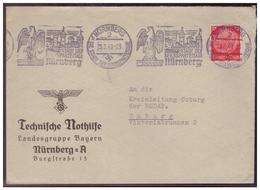 Dt-Reich (007193) Propagandabrief Technische Nothilfe Nürnberg An Kreisleitung NSDAP Coburg, Gel. Am 29.3.1940 Nürnberg - Deutschland