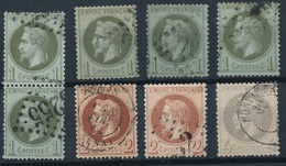 N-254: FRANCE: Lot Avec Obl N°25(1 Paire +3)-26(2)-27 - 1863-1870 Napoleon III With Laurels