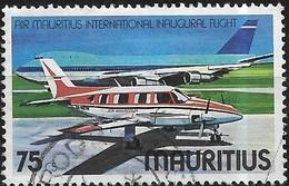 MAURITIUS 1977 Inaugural International Flight Of Air Mauritius - 75c - Piper Navajo And Boeing 747-100 FU - Mauritius (1968-...)