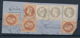N-256: FRANCE: Lot Avec  N° 26(3)-et 27(3) Obl Sr Petit Fragment - 1863-1870 Napoleon III With Laurels