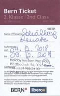 Schweiz Bern 2018 Bern Ticket 2. Klasse Eisenbahn Öffentliche Verkehrsmittel Personalisiert - Eisenbahnverkehr