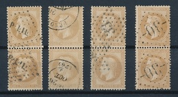 N-259: FRANCE: Lot Avec  N° 28A(3 Paires Verticales)- 28B (1 Paire) - 1863-1870 Napoleon III With Laurels