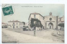 Cpa -   Dpt    -  Gard -  Calvisson   Place Du Pont     (  Selection  )   Rare  1909 - Autres Communes