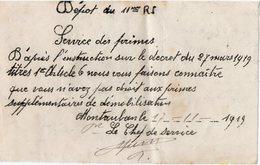 VP13.634 - MILITARIA -  MONTAUBAN 1919 - Document Du Dépot Du 11 ème Rgt D'Infanterie - Documents